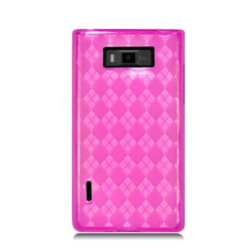 Insten Checker Rubber Clear Case For LG Splendor US730 / Venice LG730, Hot Pink