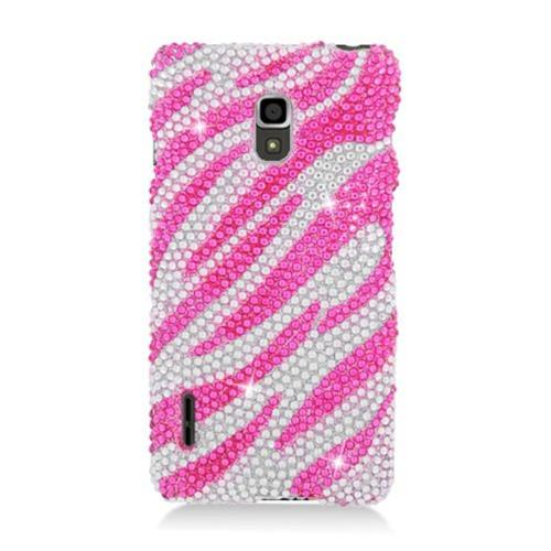 Insten Zebra Hard Bling Case For LG Optimus F7 US780 (US Cellular), Hot Pink/Silver