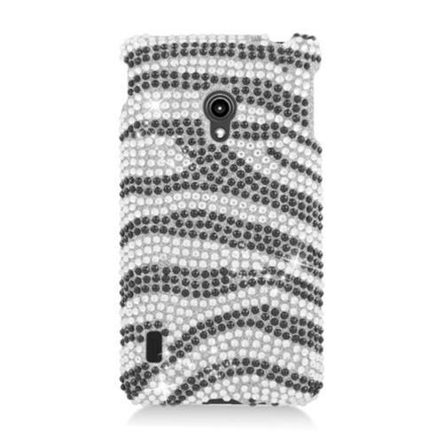 Insten Zebra Hard Diamond Cover Case For LG Lucid 2 VS870, Black/Silver
