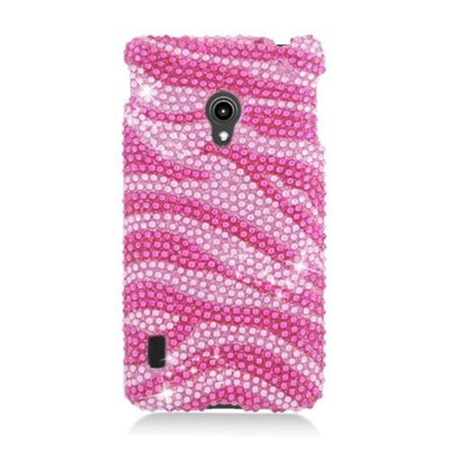 Insten Zebra Hard Bling Case For LG Lucid 2 VS870, Hot Pink/Pink