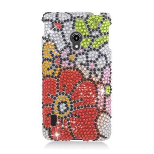 Insten Flowers Hard Bling Cover Case For LG Lucid 2 VS870, Red/Green