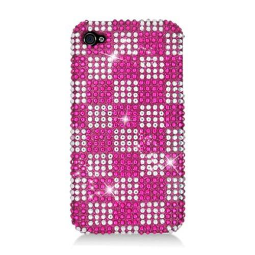 Insten Checker Hard Diamante Cover Case For Apple iPhone 4/4S, Hot Pink/White