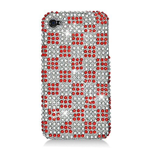 Insten Checker Hard Diamante Case For Apple iPhone 4/4S, Red/White