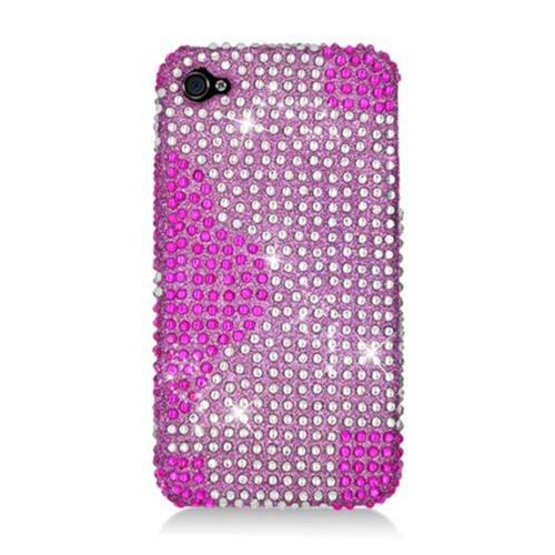 Insten Flowers Hard Diamante Case For Apple iPhone 4/4S, Hot Pink