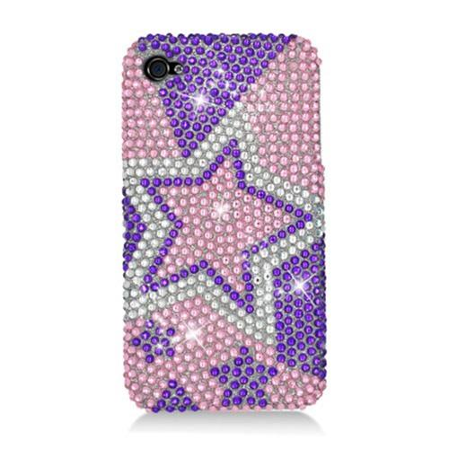Insten Stars Hard Bling Cover Case For Apple iPhone 4/4S, Purple/Pink