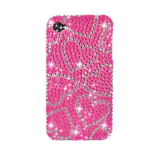 Insten Hearts Hard Diamante Case For Apple iPhone 4/4S, Hot Pink