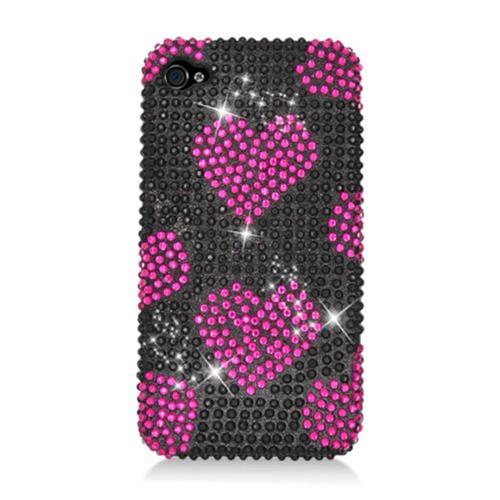 Insten Hearts Hard Bling Case For Apple iPhone 4/4S, Hot Pink/Black