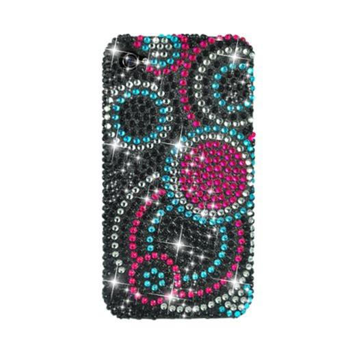 Insten Circles Hard Bling Case For Apple iPhone 4/4S, Black/Pink