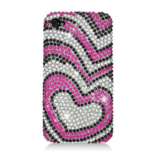 Insten Hearts Hard Rhinestone Case For Apple iPhone 4/4S, Hot Pink