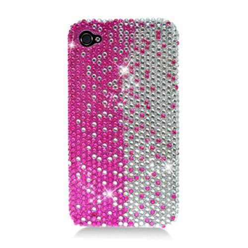 Insten Hard Rhinestone Cover Case For Apple iPhone 4/4S, Hot Pink/Silver