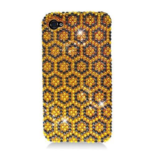 Insten Hexagon Hard Diamante Case For Apple iPhone 4/4S, Yellow/Black