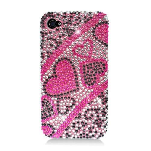 Insten Hearts Hard Rhinestone Cover Case For Apple iPhone 4/4S, Hot Pink