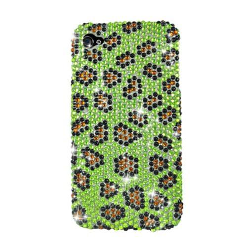 Insten Leopard Hard Bling Cover Case For Apple iPhone 4/4S, Yellow/Black
