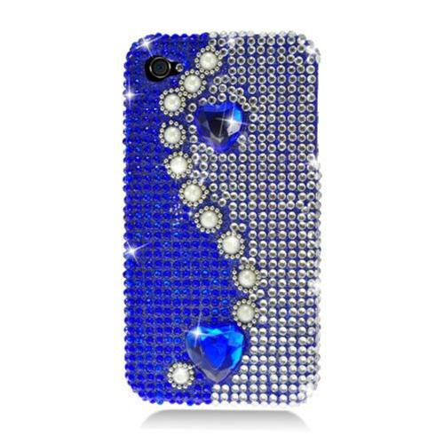 Insten Pearl Hard 3D Diamante Cover Case For Apple iPhone 4/4S, Blue/White