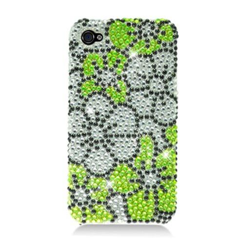 Insten Flowers Hard Rhinestone Cover Case For Apple iPhone 4/4S, Green/Silver