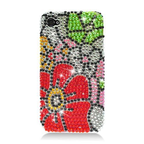 Insten Flowers Hard Bling Case For Apple iPhone 4/4S, Red/Green