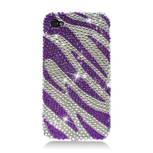 Insten Zebra Hard Diamond Case For Apple iPhone 4/4S, Purple/Silver
