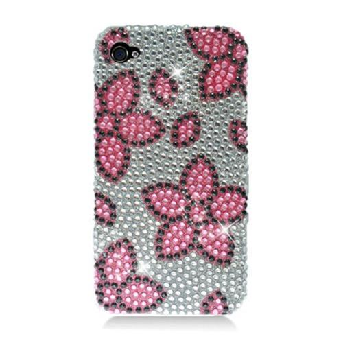 Insten Flowers Hard Diamond Cover Case For Apple iPhone 4/4S, Pink/Silver