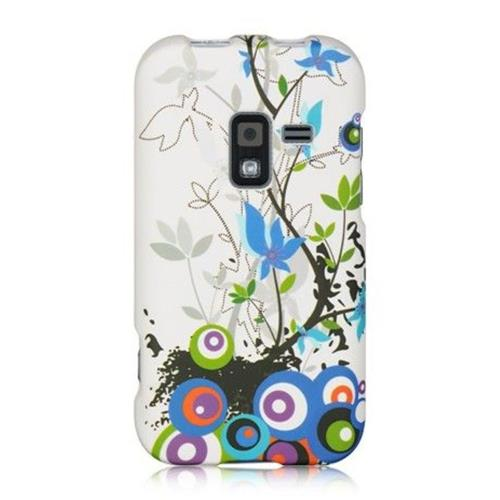 Insten Butterfly Hard Rubberized Cover Case For Samsung Galaxy Attain 4G, White/Blue