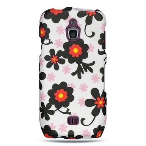 Insten Daisy Hard Rubber Coated Cover Case For Samsung Exhibit 4G T759, White/Black