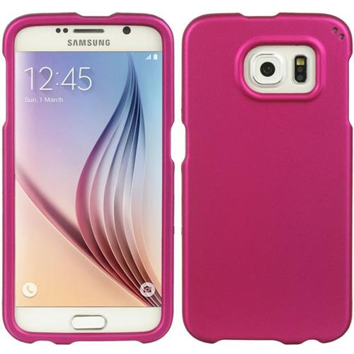 Insten Hard Rubber Cover Case For Samsung Galaxy S6, Hot Pink