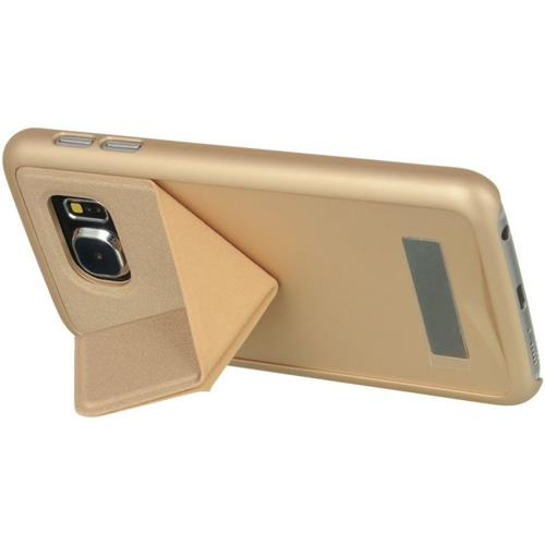 Insten Hard Rubber Case w/stand For Samsung Galaxy S6, Champagne Gold
