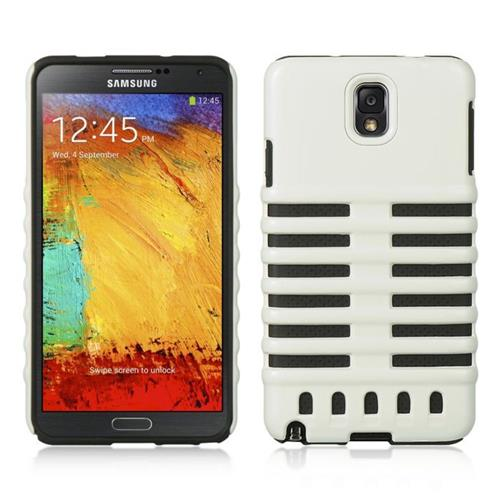 Insten Hard Dual Layer Plastic Silicone Case For Samsung Galaxy Note 3, White/Black