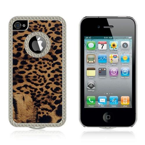 Insten Leopard Hard Rubberized Case w/Diamond For Apple iPhone 4/4S, Brown/Black