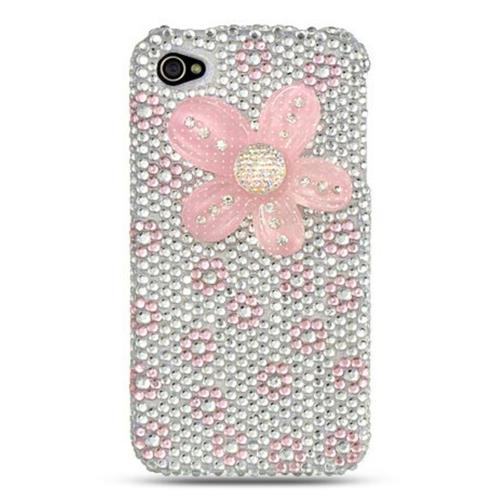 Insten Flowers Hard Diamond Cover Case For Apple iPhone 4/4S, White/Pink