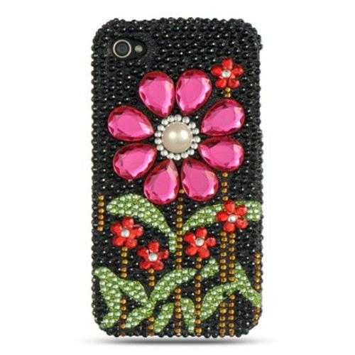 Insten Flowers Hard Bling Cover Case For Apple iPhone 4/4S, Black/Hot Pink