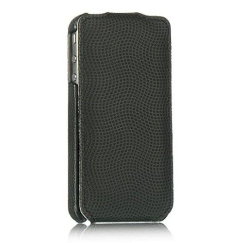 Insten Flip Leather Fabric Cover Case For Apple iPhone 4/4S, Black
