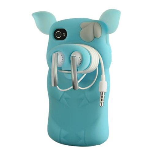 Insten Pig Skin Rubber Cover Case For Apple iPhone 4/4S, Blue