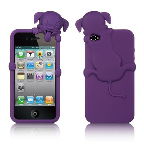 Insten Gel Rubber Cover Case w/Diamond For Apple iPhone 4/4S, Purple