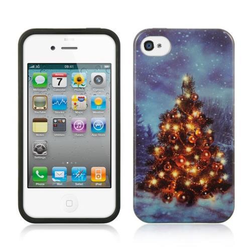 Insten Christmas Gel Case For Apple iPhone 4/4S, Blue