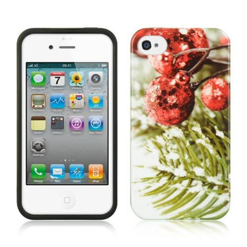 Insten Christmas Rubber Case For Apple iPhone 4/4S, Red/Green