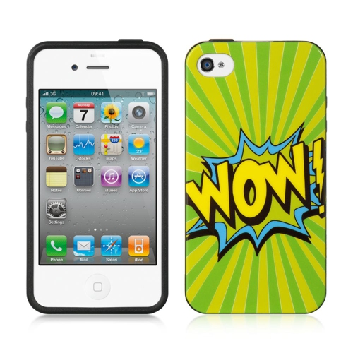 Insten Wow Gel Case For Apple iPhone 4/4S, Green/Yellow