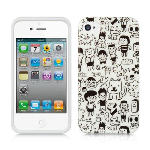 Insten Happy Playground TPU Case For Apple iPhone 4/4S, Black/White