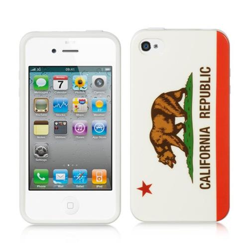 Insten California Gel Case For Apple iPhone 4/4S, White/Red