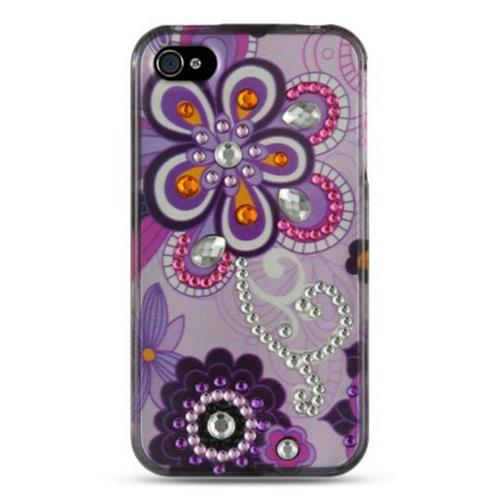 Insten Violet Hard Cover Case w/Diamond For Apple iPhone 4/4S, Purple