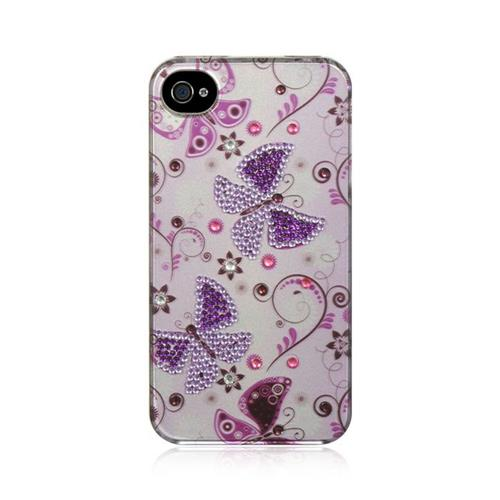 Insten Butterfly Hard Rubber Coated Case w/Diamond For Apple iPhone 4/4S, White/Purple