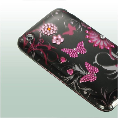 Insten Butterfly Hard Diamond Case For Apple iPhone 3G/3GS, Black/Hot Pink