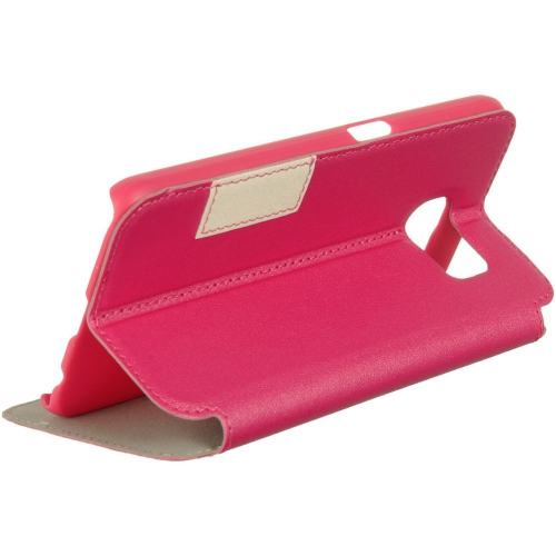 Insten Book-Style Leather Fabric Cover Case w/stand/card slot For Samsung Galaxy S6, Hot Pink/White