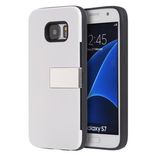 Insten Hard Rubber Coated Cover Case w/card holder For Samsung Galaxy S7, White