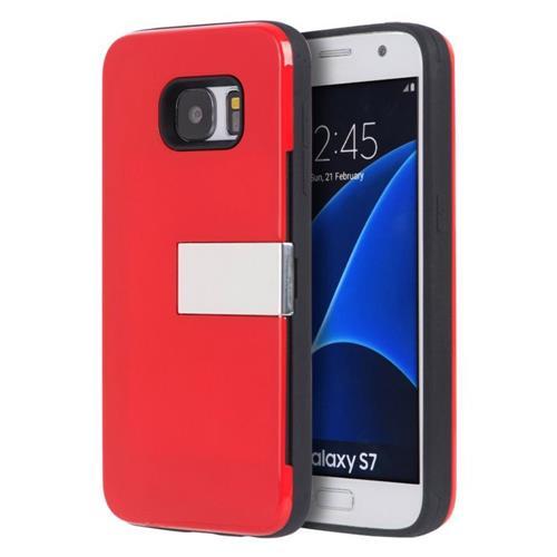 Insten Hard Case w/card holder For Samsung Galaxy S7, Red