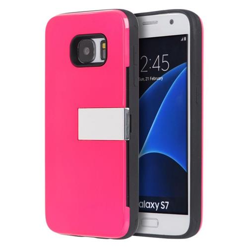 Insten Hard Rubber Case w/card slot For Samsung Galaxy S7, Hot Pink