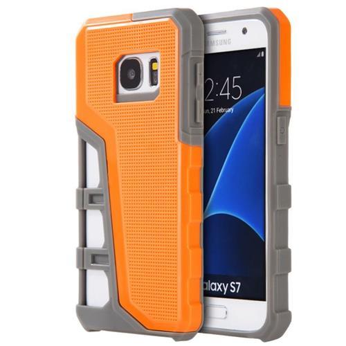 Insten Hard Dual Layer TPU Case For Samsung Galaxy S7, Orange/Gray