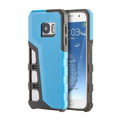 Insten Hard Dual Layer TPU Cover Case For Samsung Galaxy S7, Blue/Gray