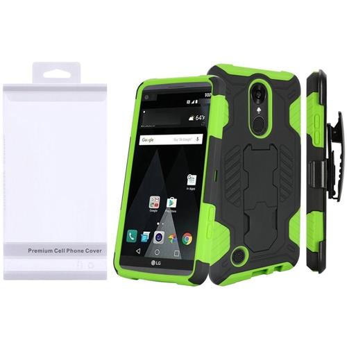 Insten Hard Hybrid TPU Cover Case w/stand For LG Aristo/K8 (2017), Black/Green