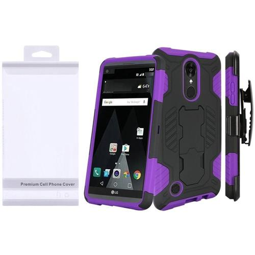 Insten Hard Hybrid TPU Cover Case w/stand For LG Aristo/K8 (2017), Black/Purple
