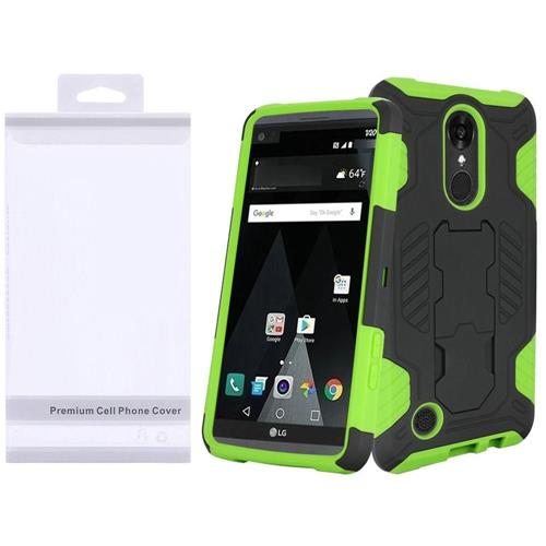 Insten Hard Hybrid TPU Case w/stand For LG Aristo/K8 (2017), Black/Green